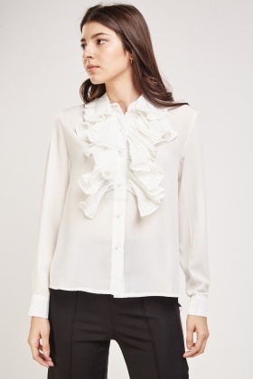 Pleated Ruffle Trim Blouse