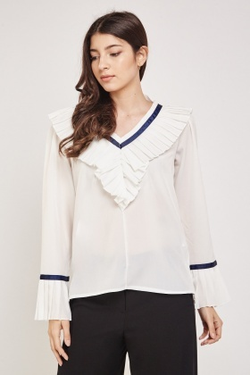 Pleated Ruffled Trim Blouse