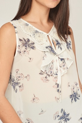Ruffle Embellished Floral Top