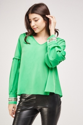 Sequin Embellished Cuffs Blouse
