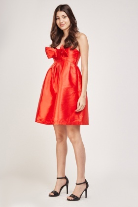 Strapless Sateen Bow Front Dress
