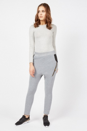 Zipper Insert Jogger Pants