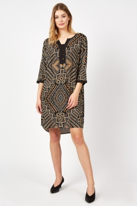 Aztec Printed Shift Dress