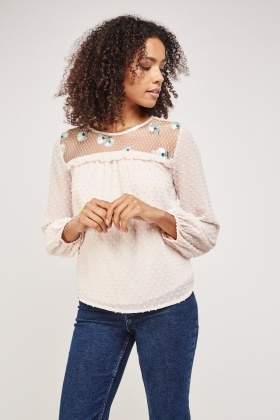 Bobble Embroidered Mesh Blouse