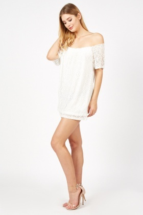 Crochet Overlay Mini Bardot Dress