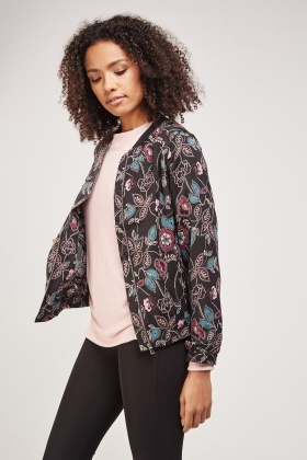 Floral Thin Bomber Jacket