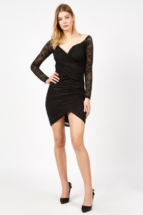 Lace Overlay Wrap Dress