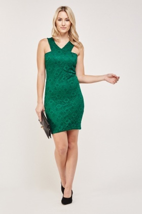 Lace Overlay Bodycon Dress