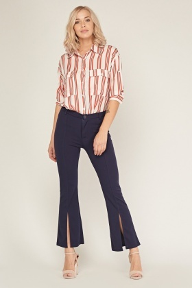 Low Waist Slit Front Trousers