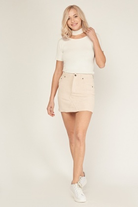 Ribbed Suedette Mini Skirt
