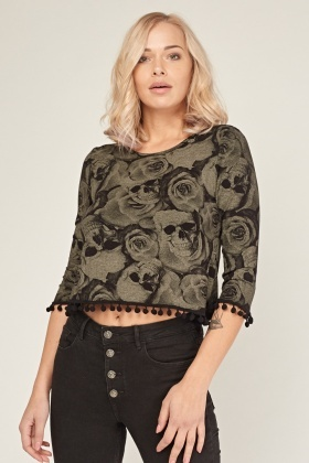 Skull Rose Print Crop Top