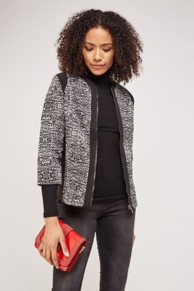 Speckled Contrast Zip Up Jacket