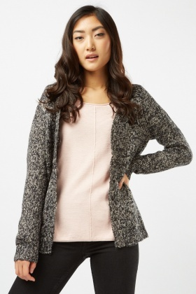 Speckled Knit Contrast Cardigan