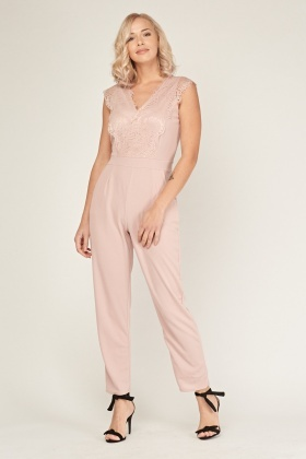 V-Neck Lace Insert Jumpsuit