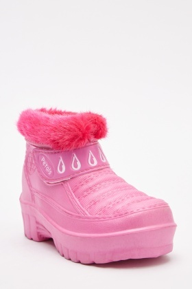 Faux Fur Trim Wellington Boots
