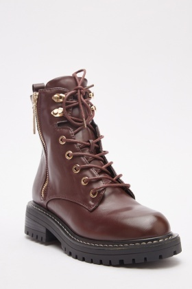 Faux Leather Lace Up Biker Boots
