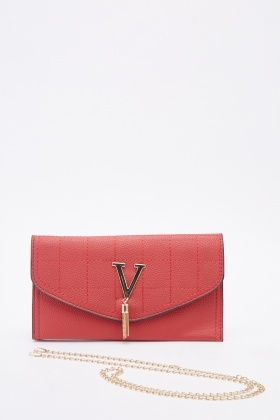 Front Detailed Quilted Faux Leather Clutch Bag