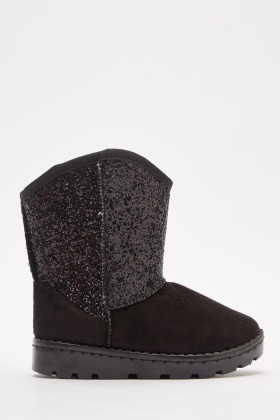 Glitter Panel Girls Winter Boots