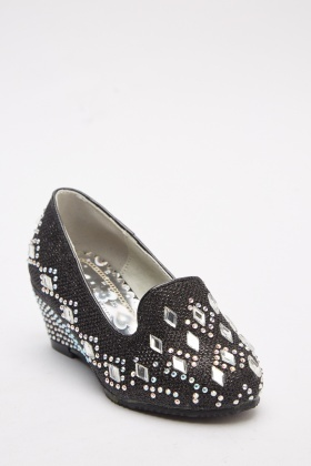 Lurex Encrusted Wedge Flats