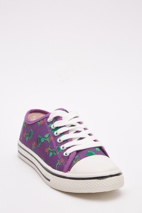 Mix Floral Printed Low Top Trainers
