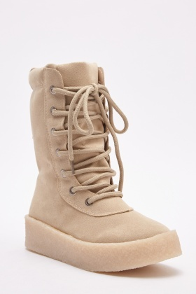 Platform Suedette High Top Boots