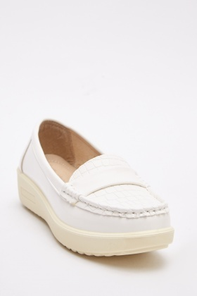 Stitched Trim Faux Leather Loafers
