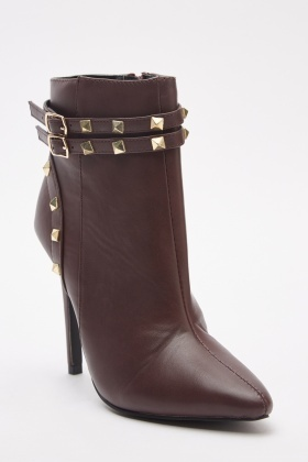 Studded Ankle Strap Heeled Boots