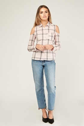 Cold Shoulder Checked Shirt