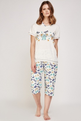 Contrasted Butterfly Print Top And Trousers Pyjama Set