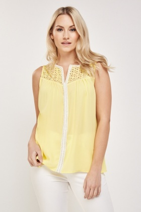 Crochet Contrast Shell Top
