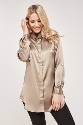 Embroidered Long Sleeve Sateen Shirt