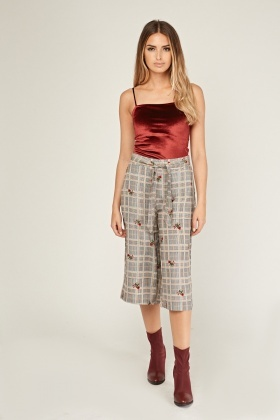 Floral Plaid Crop Culotte Pants
