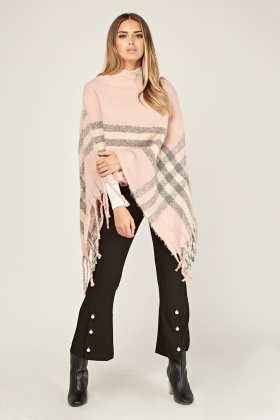 Knitted Fringed Trim Poncho