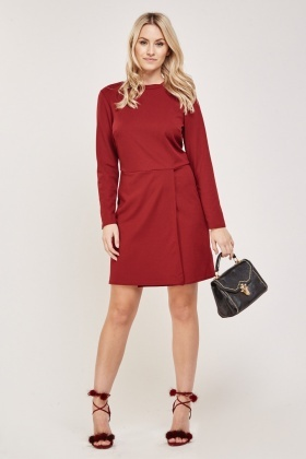 Maroon Wrap Hem Tunic Dress
