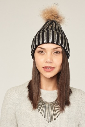Metallic Faux Fur Beanie Hat