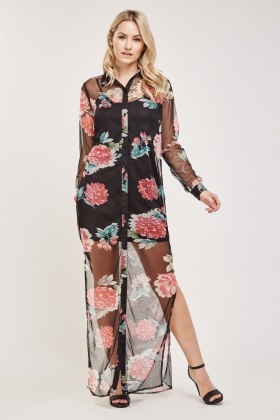 Sheer Floral Maxi Shirt Dress