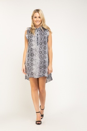 Snake Print Ruffle Shirt Dress