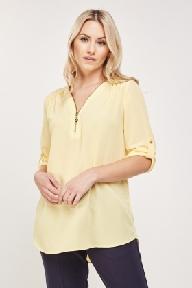 Yellow Zip Up Neck Blouse