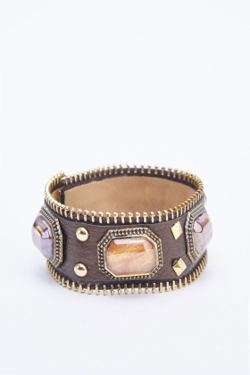 Zipper Trim Embellished Wrist Strap