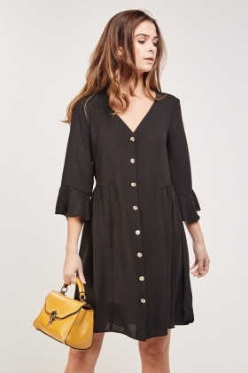 Button Up Casual  Swing Dress