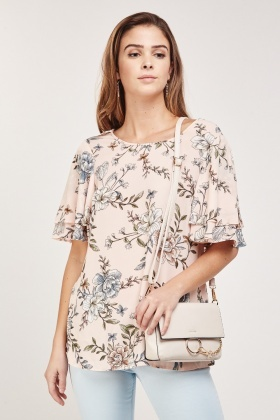 Cut Out Back Printed Blouse