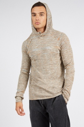 Speckled Hooded Long Sleeve Sweater