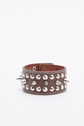Coffee Studded Spiked Wrist Strap