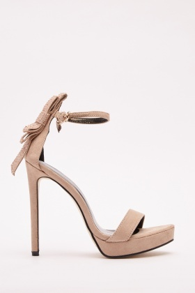 Encrusted Bow Trim Suedette Sandals