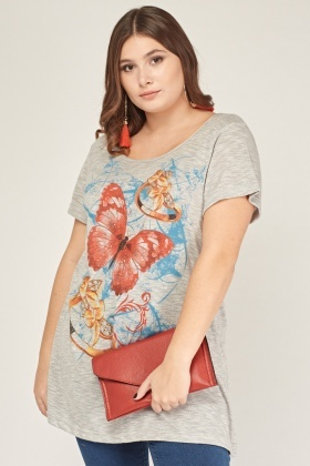 Knitted Mixed Butterfly Print Top