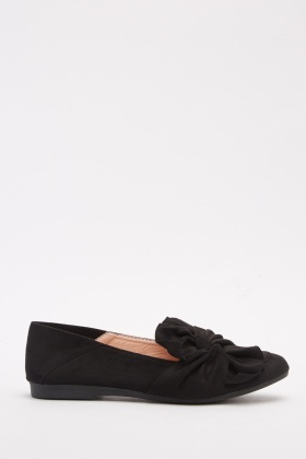 Knotted Bow Suedette Loafers
