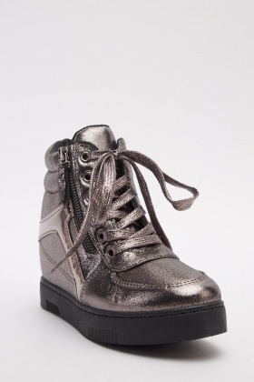 Lace Up Metallic Boots