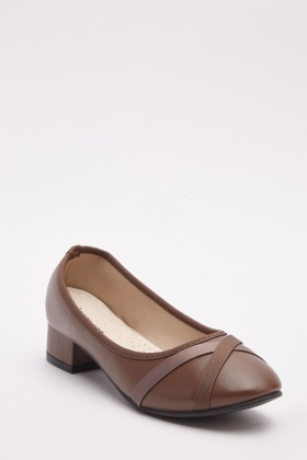 Low Heel Cross-Strap Pumps