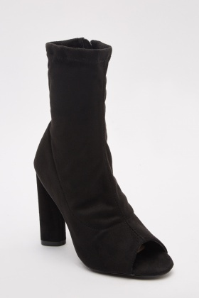 Open Toe Suedette Ankle Boots