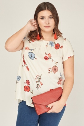 Ruched Neck Floral Top